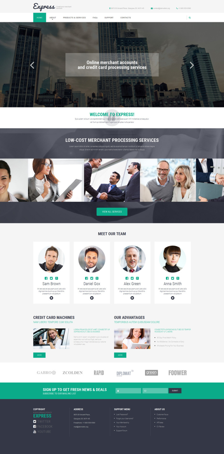 Merchant Services Website Template New Screenshots BIG
