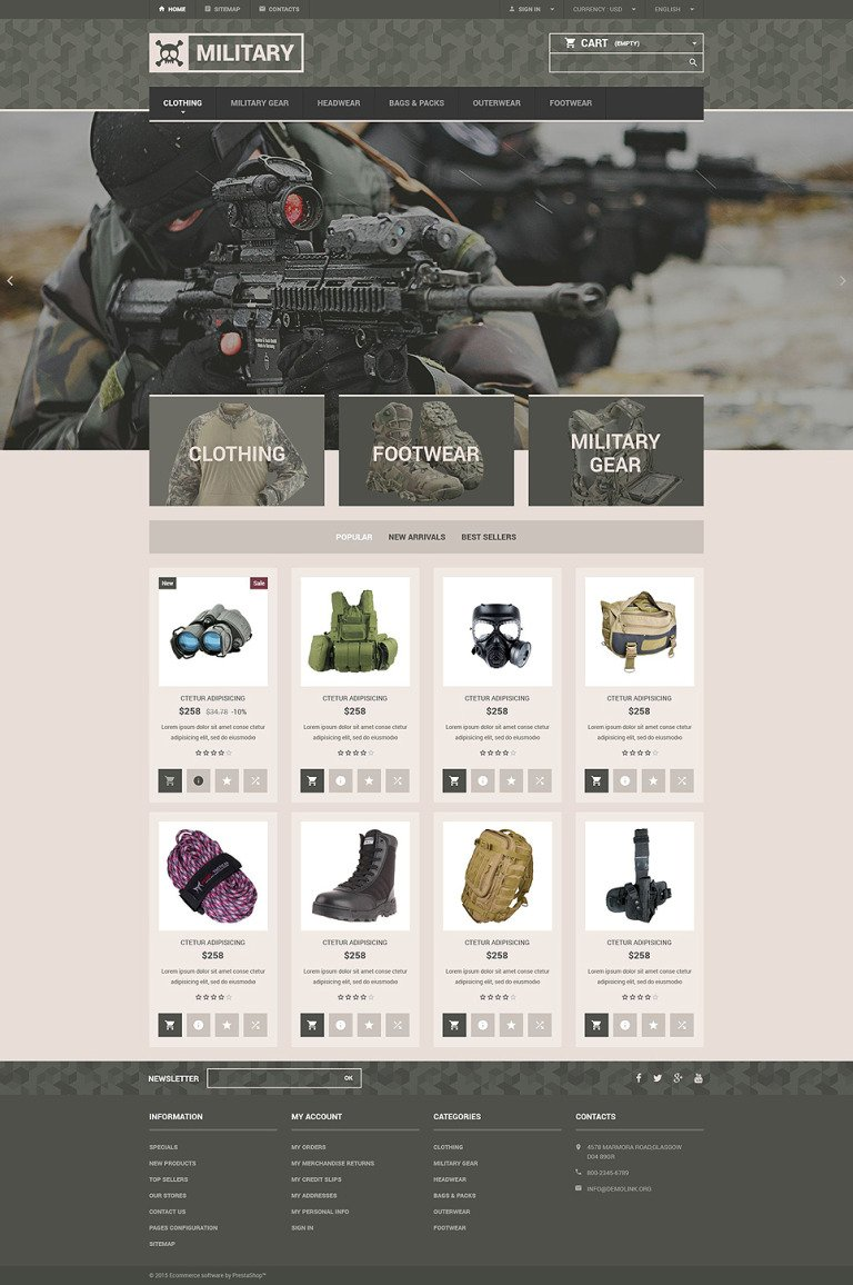 Military Gear Store PrestaShop Theme New Screenshots BIG