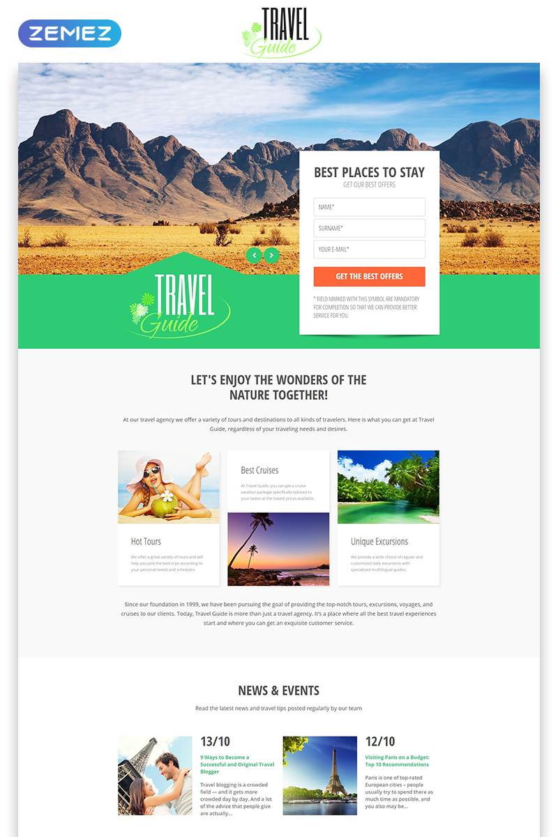 """Modello di Landing Page Responsive #53870 """"Travel Guide - Travel Agency Clean HTML Bootstrap"""""""