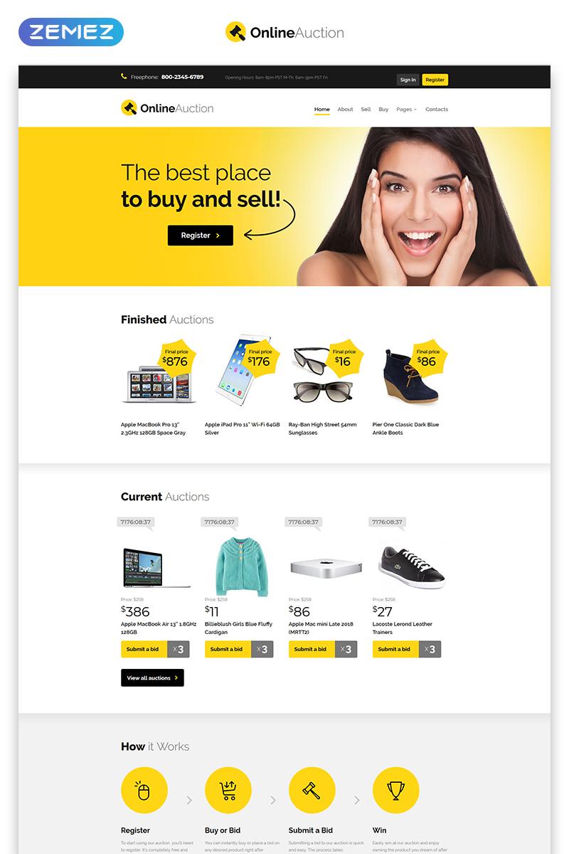 """""""Online Auction - Auction Responsive Clean HTML"""" modèle web adaptatif #53883"""