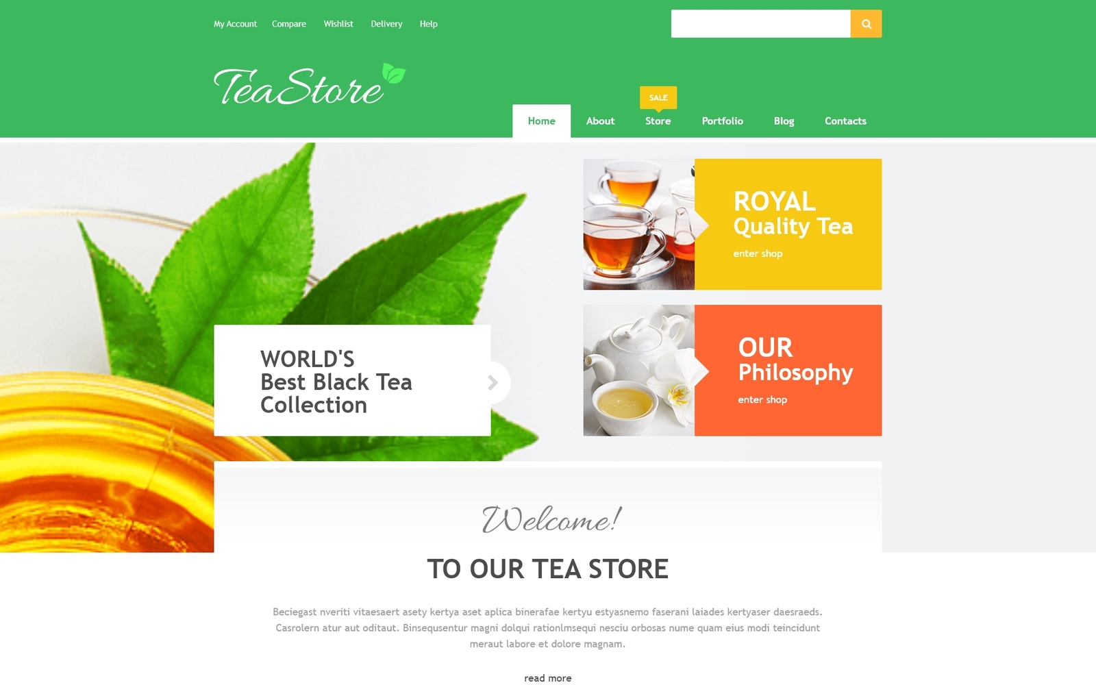 Online theewinkel WooCommerce-thema