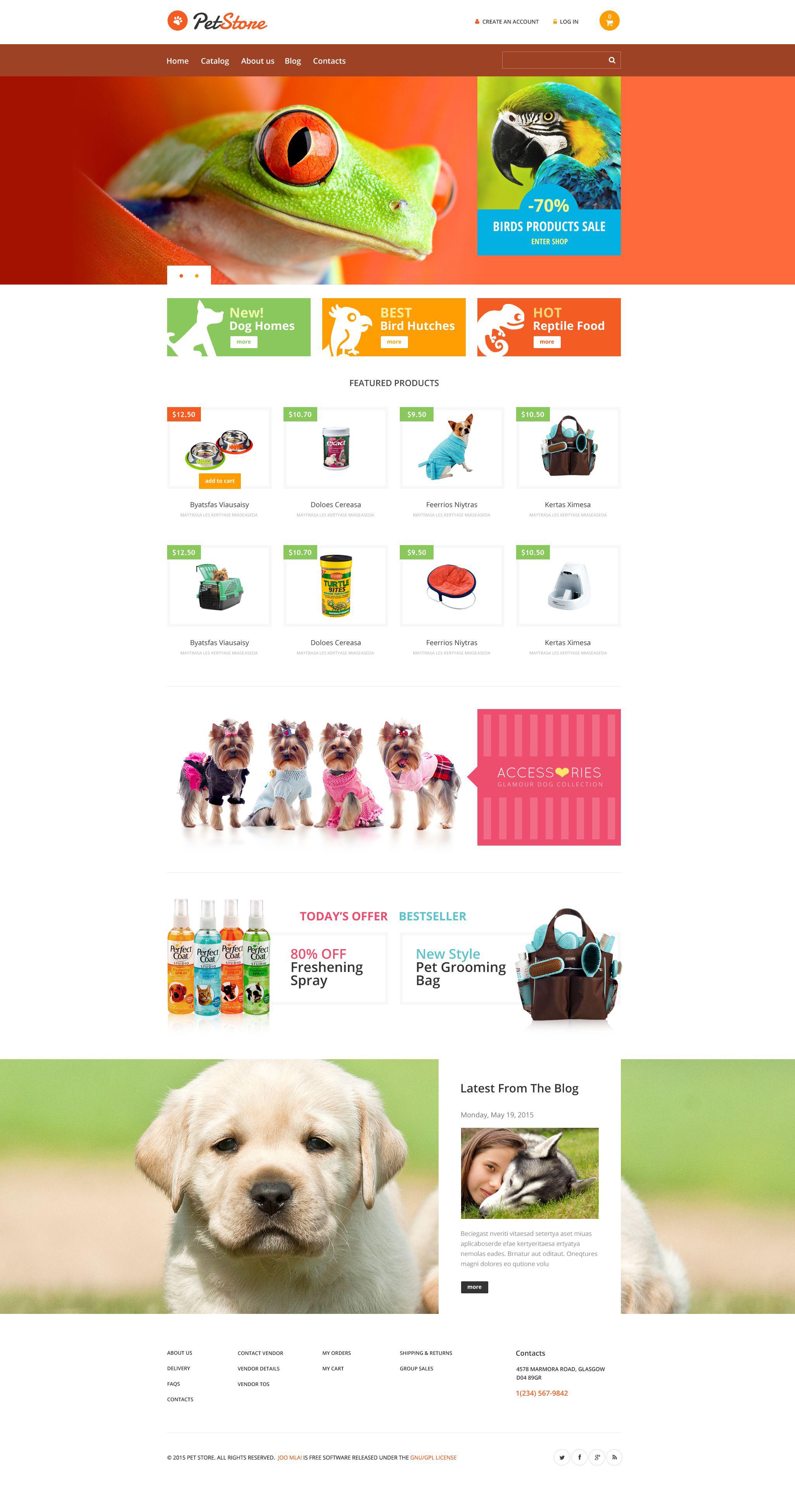 Pet Store VirtueMart sablon 53805 - képernyőkép