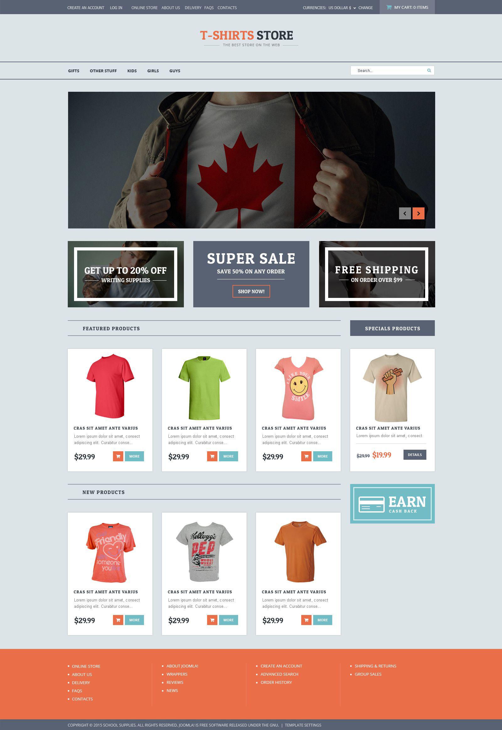 Plantilla VirtueMart #53834 para Sitio de Tienda de Camisetas