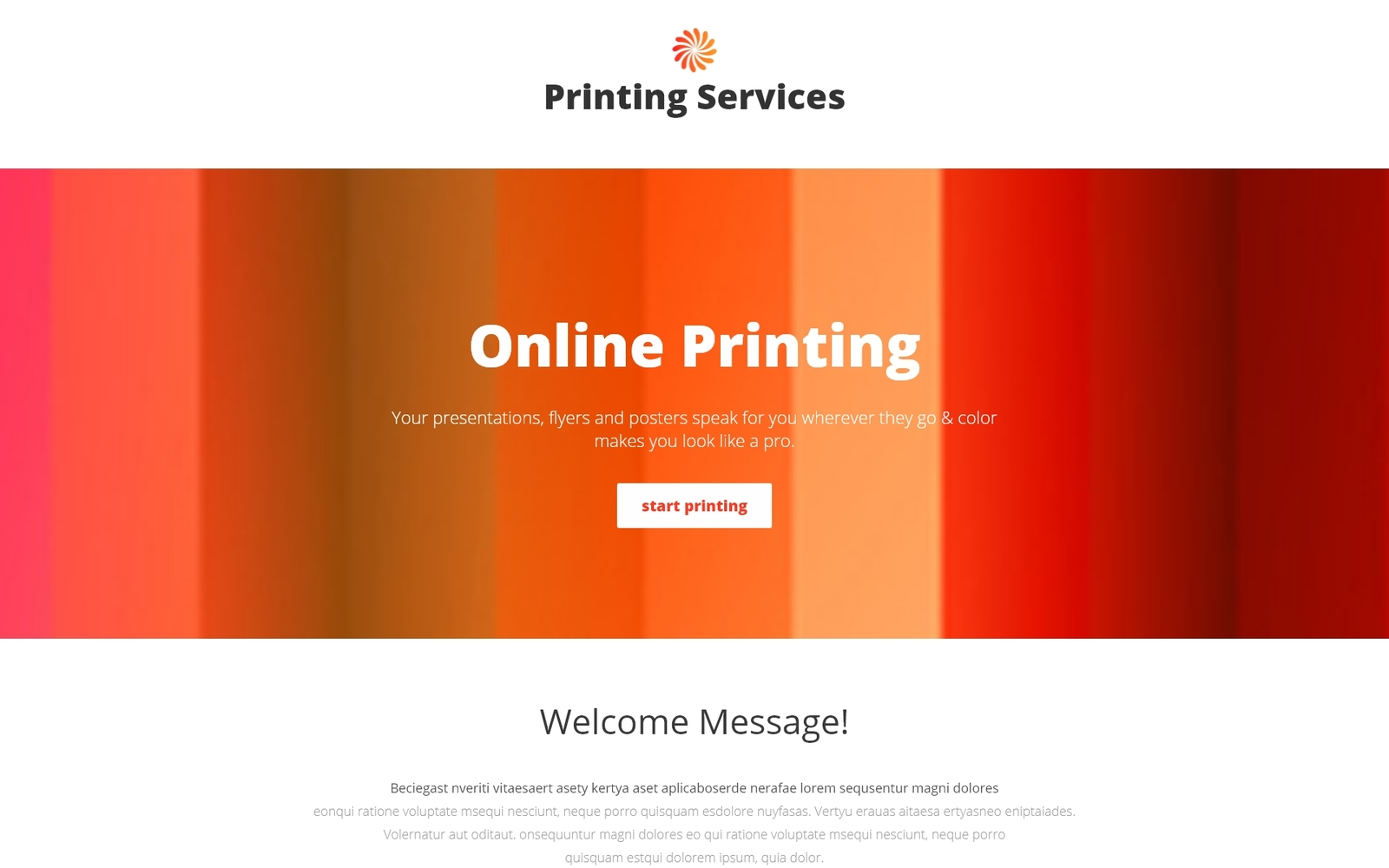 """Print Shop Responsive Landing Page Template"" Responsive Landingspagina Template №53837"