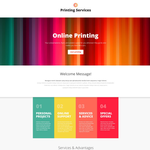 Printing Services - Responsive Landing Page Template