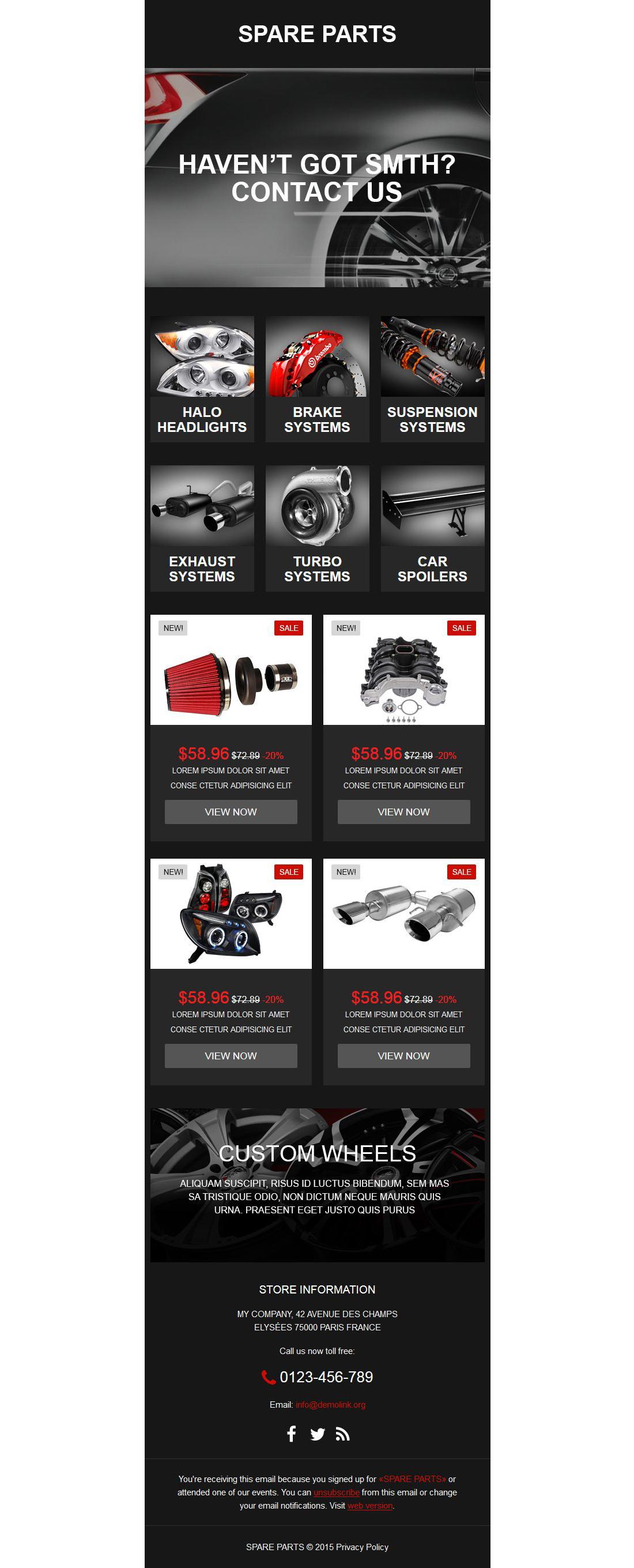 Responsive Newsletter Vorlage für Autoteile #53860