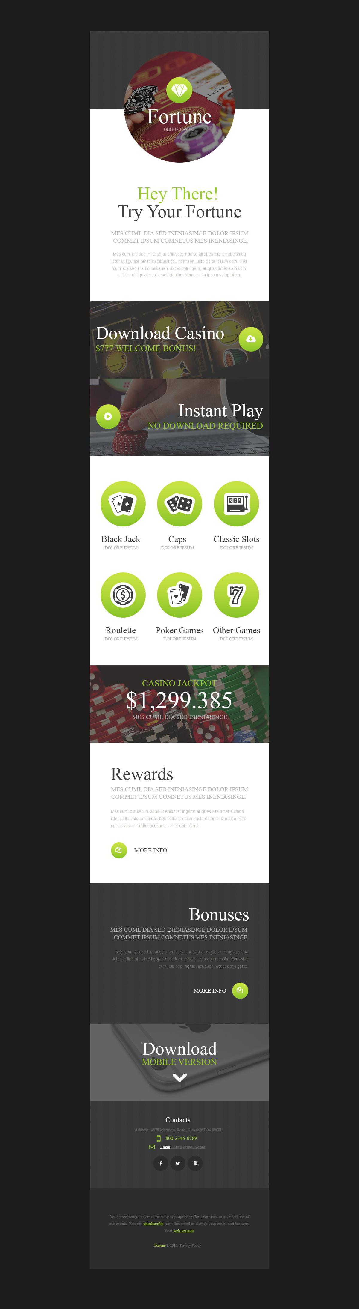Responsive Newsletter Vorlage für Online Casino #53804