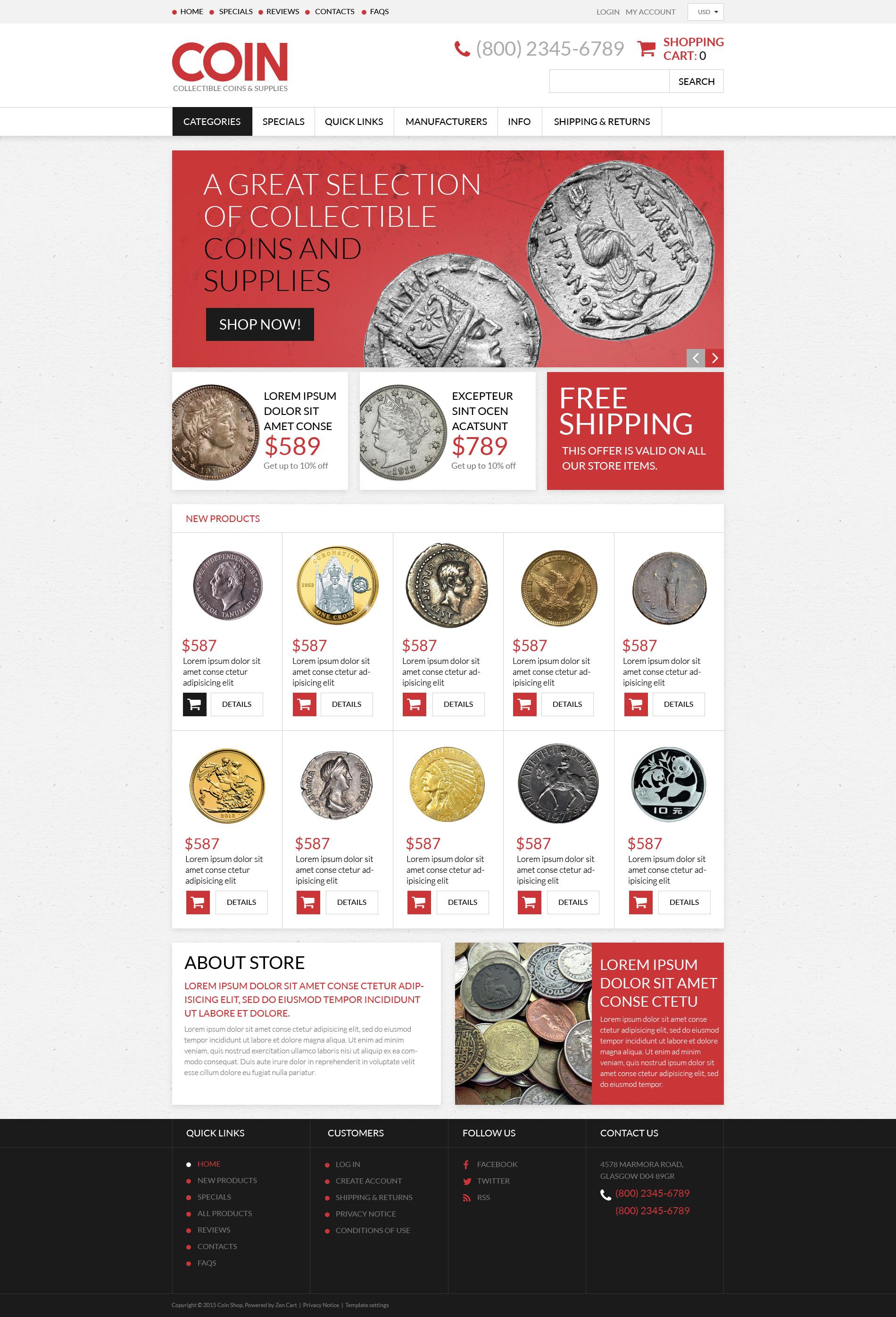 Responsive ZenCart Vorlage für Antiquitätenladen #53801 - Screenshot