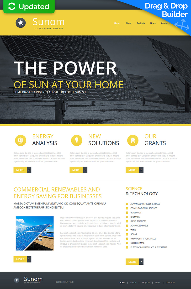 Responsywny szablon Moto CMS 3 #53827 na temat: energia słoneczna