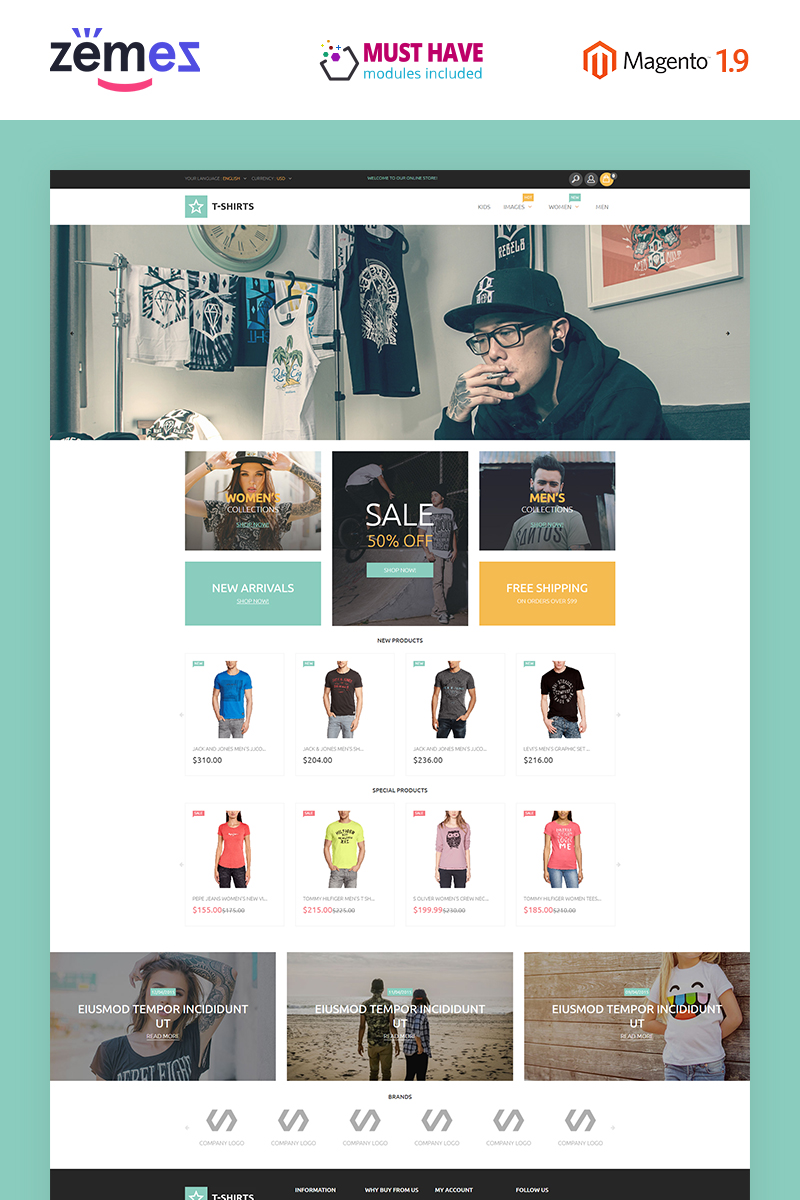 "Responzivní Magento motiv ""T-Shirts"" #53885 - screenshot"