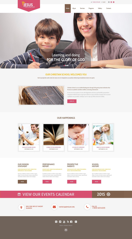 """Responzivní Šablona webových stránek """"Private Christian School"""" #53867"""