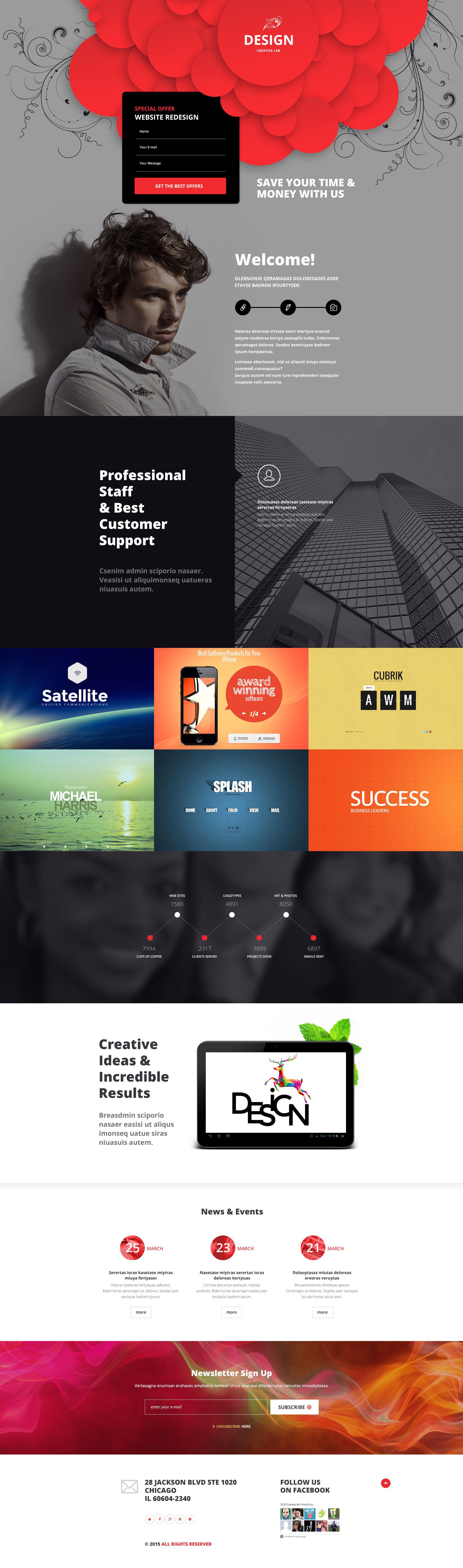 Reszponzív Design studiók Nyítóoldal sablon 53873