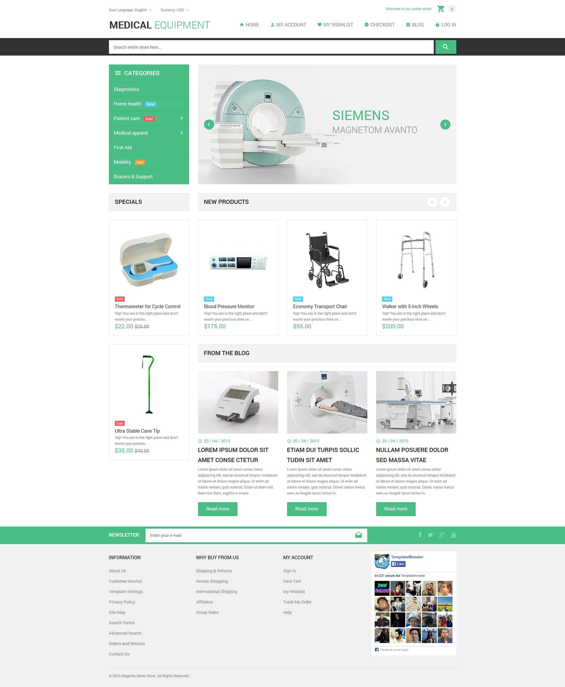 Reszponzív Medical Stuff Store Magento sablon 53806