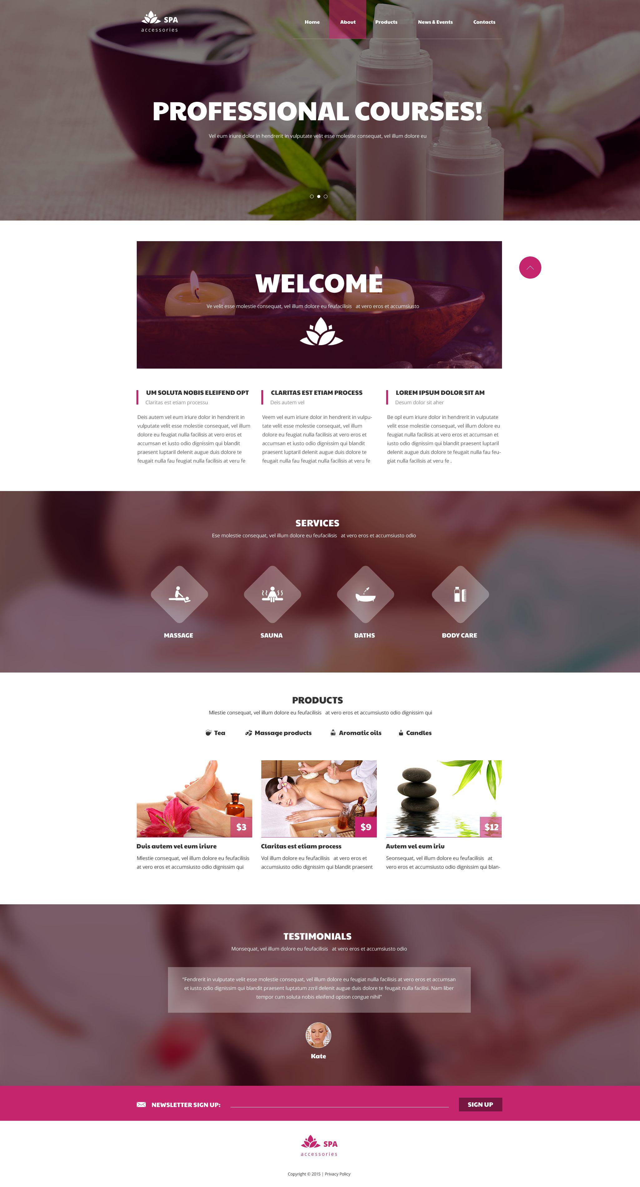 Reszponzív Spa kiegészítők témakörű Weboldal sablon 53802
