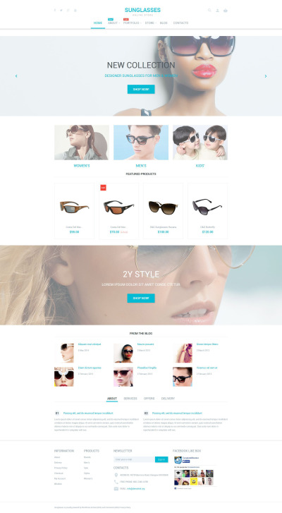 Sunglasses Shop WooCommerce Theme #53889