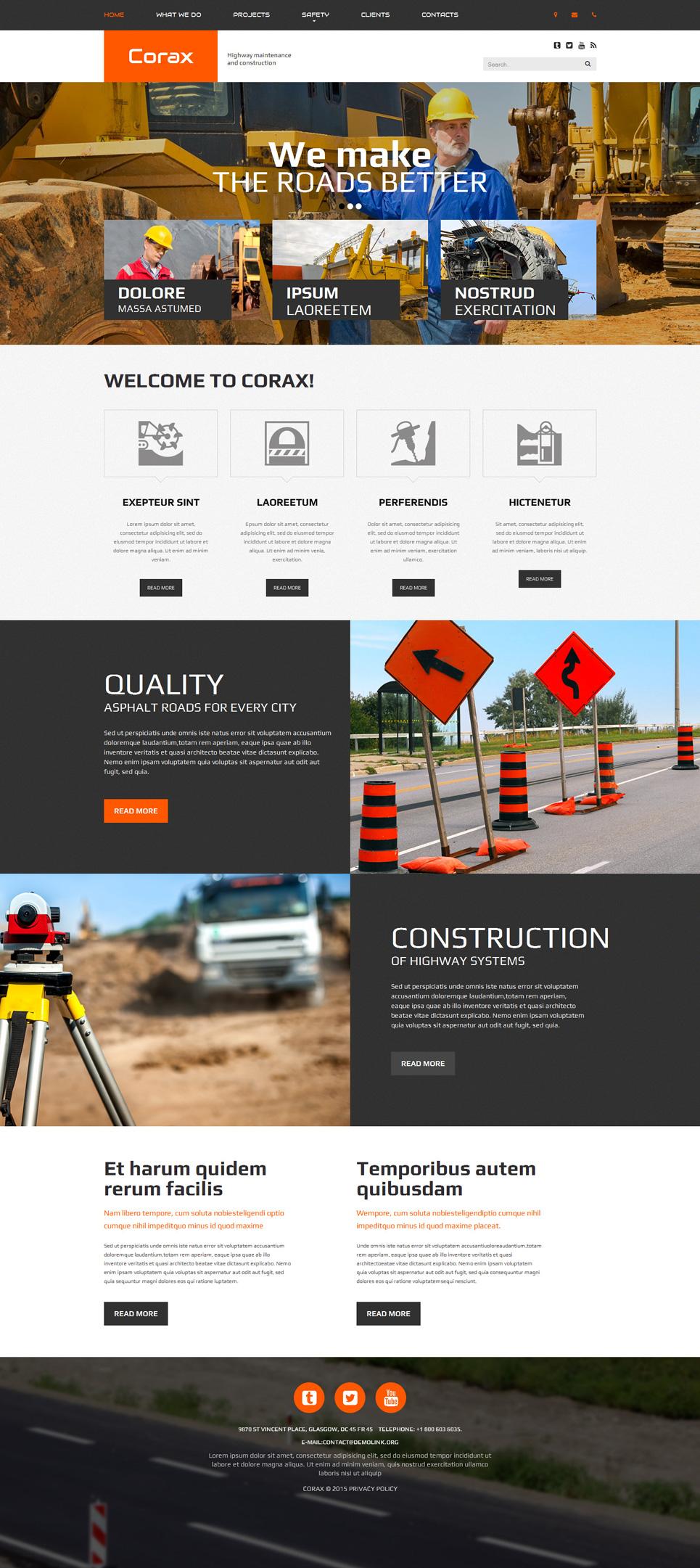 Template siti web 53844 per un sito di societ di costruzioni for Siti web di costruzione domestica