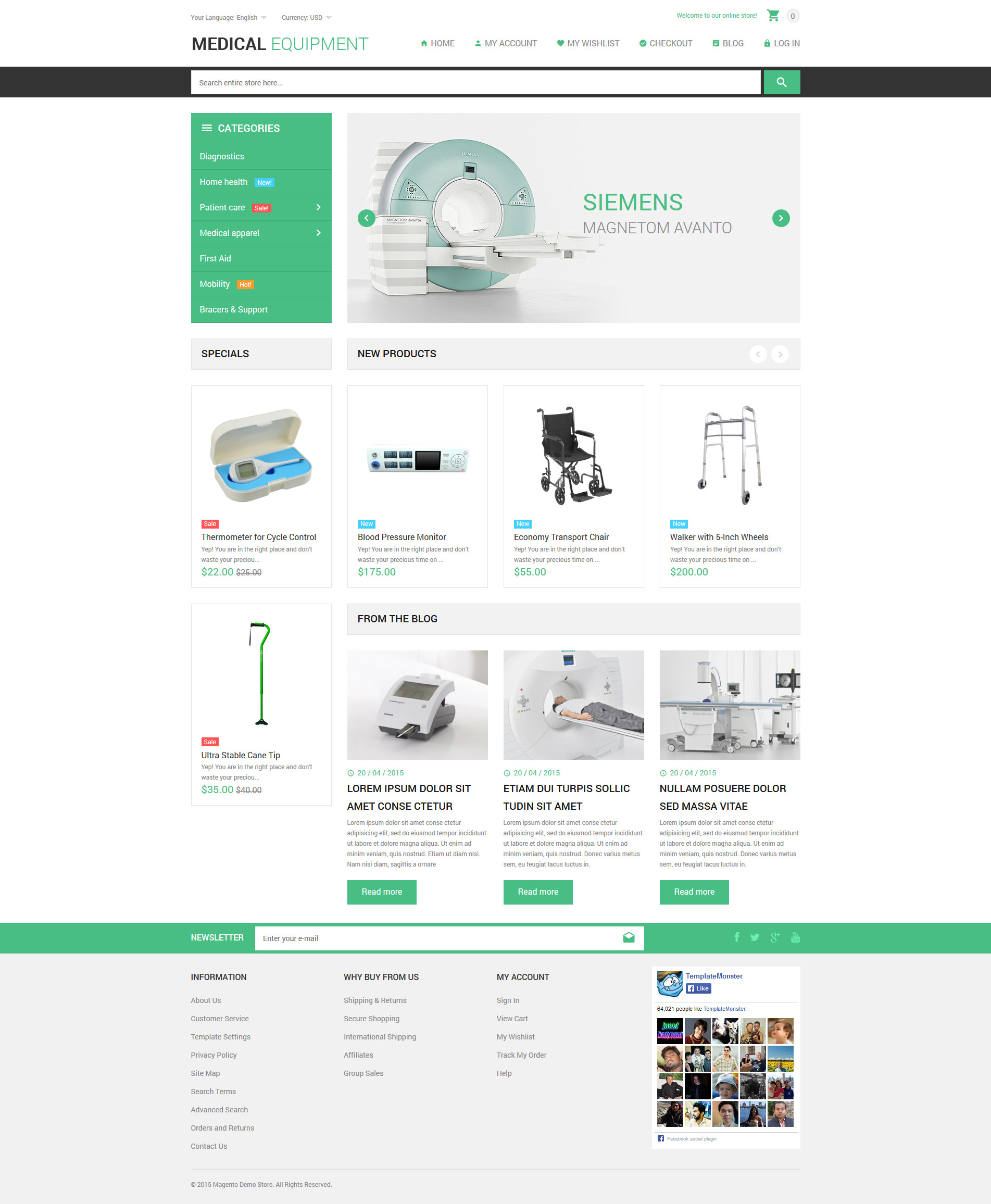 """Template Magento Responsive #53806 """"Medical Stuff Store"""""""