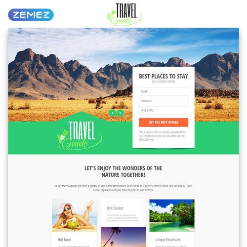 Travel Guide - Responsive Landing Page Template