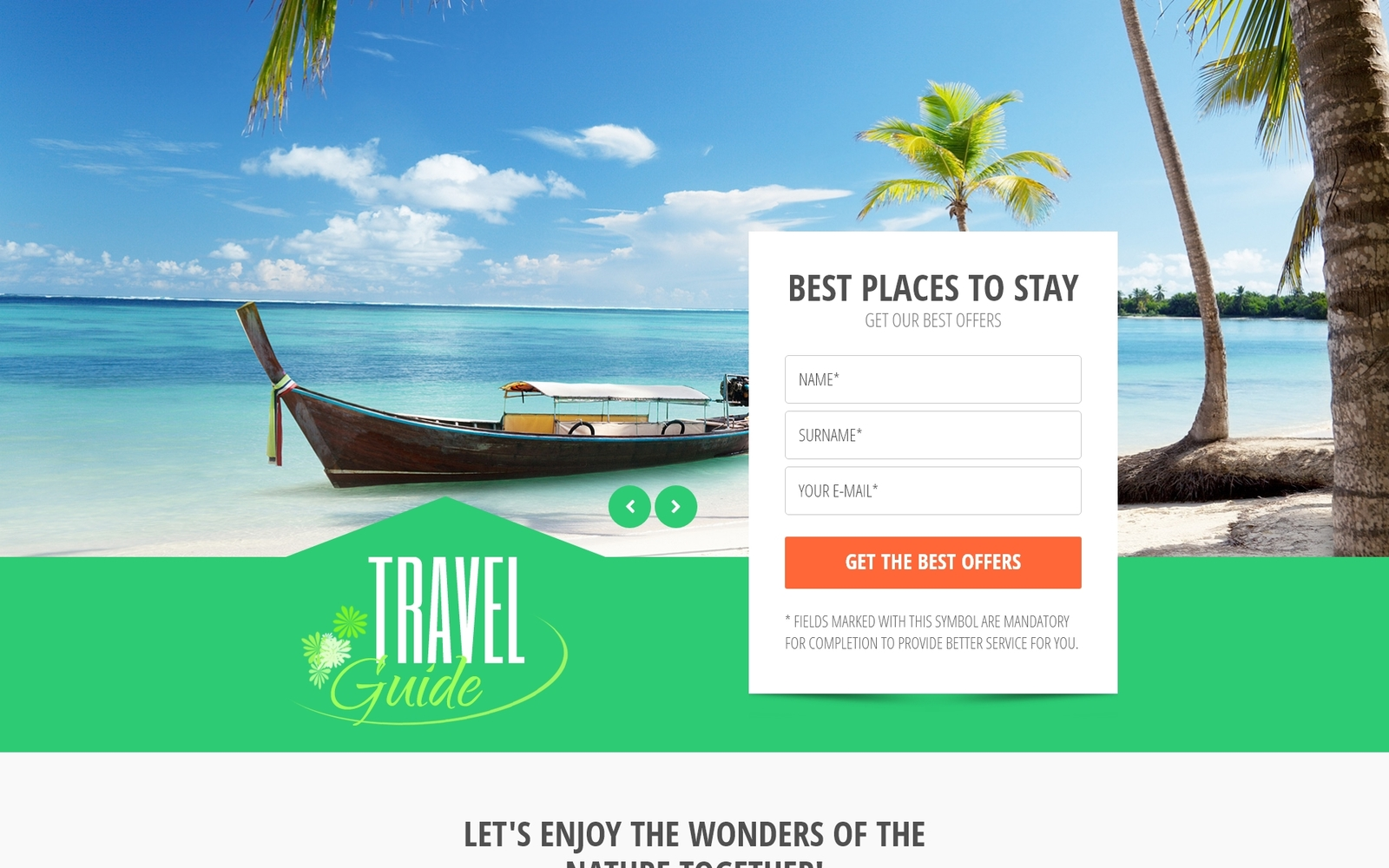 """Travel Guide - Travel Agency Clean HTML Bootstrap"" 响应式着陆页模板 #53870"