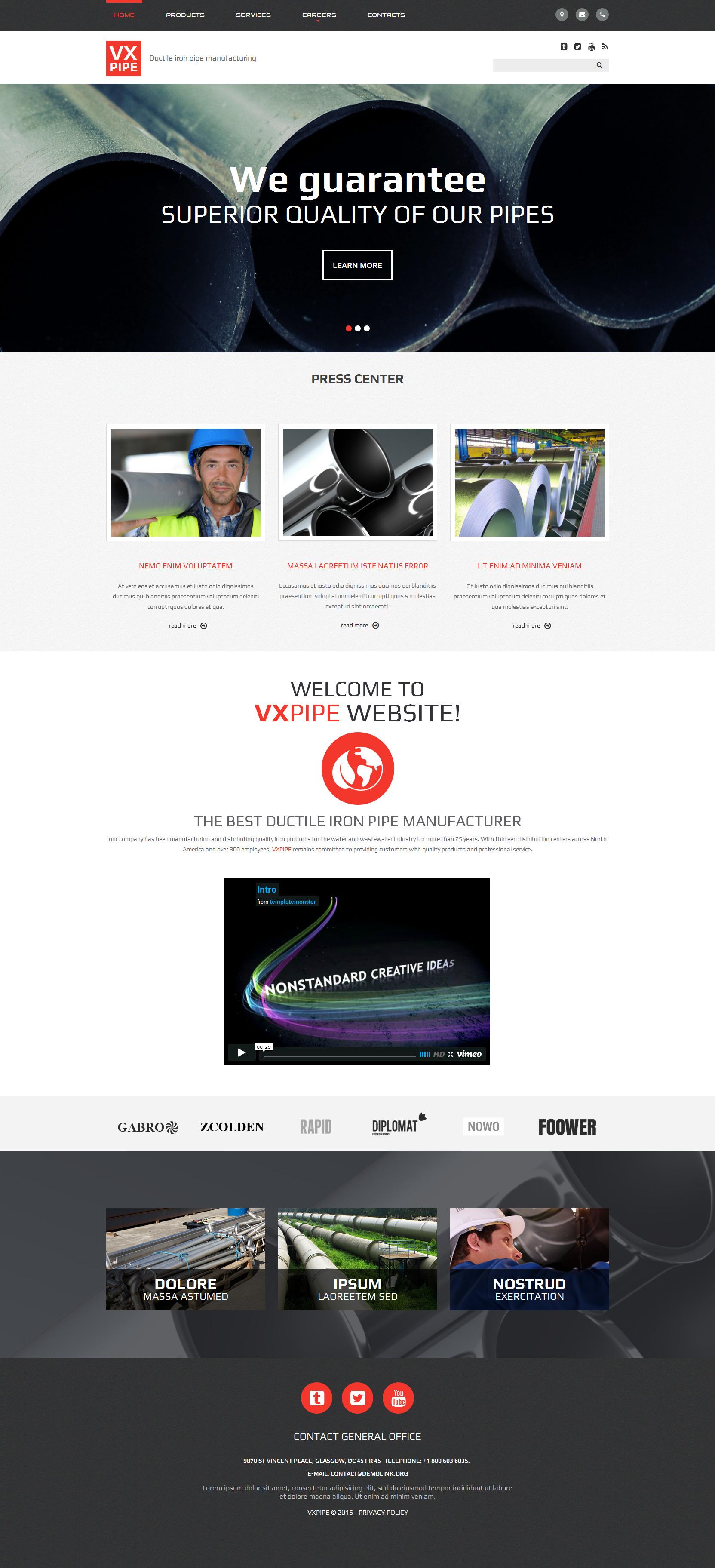 VX Pipe Website Template - screenshot