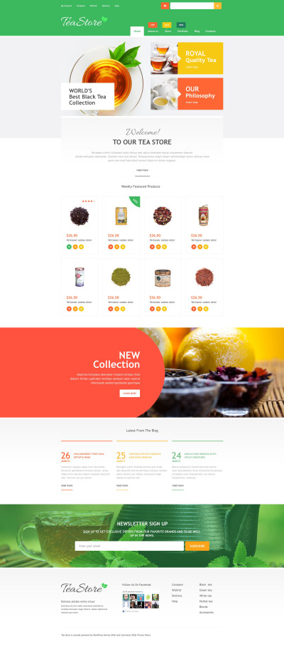Адаптивный WooCommerce шаблон №53888 на тему чайный магазин