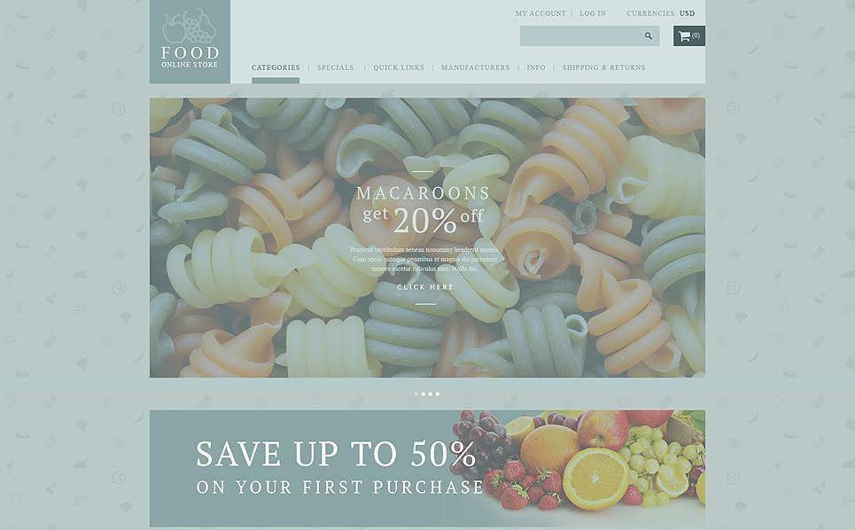 "ZenCart Vorlage namens ""Lebensmittelladen"" New Screenshots BIG"