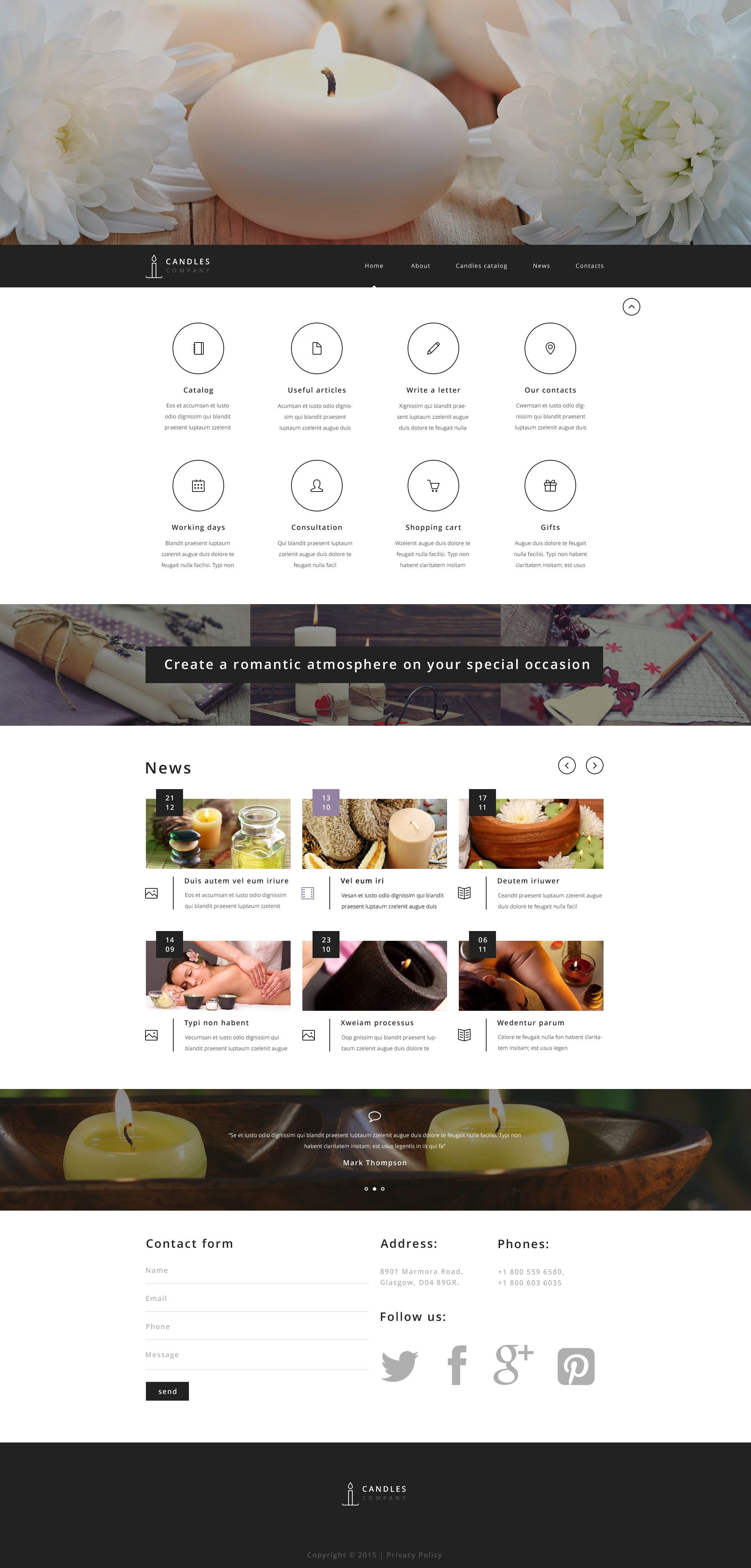 The Handmade Candles Store Responsive Javascript Animated Design 53904, one of the best website templates of its kind (most popular, hobbies & crafts), also known as Handmade Candles store website template, shop website template, candle website template, holders website template, unscented website template, floating website template, scented website template, jar website template, rechargeable website template, pillar website template, soy website template, taper website template, tea website template, light website template, unique  votive and related with Handmade Candles store, shop, candle, holders, unscented, floating, scented, jar, rechargeable, pillar, soy, taper, tea, light, unique  votive, etc.