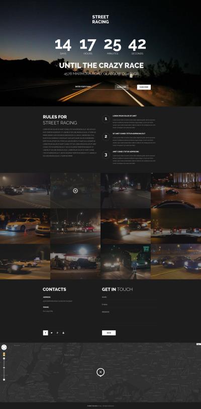 Bilracing Responsivt Landing Page-mall
