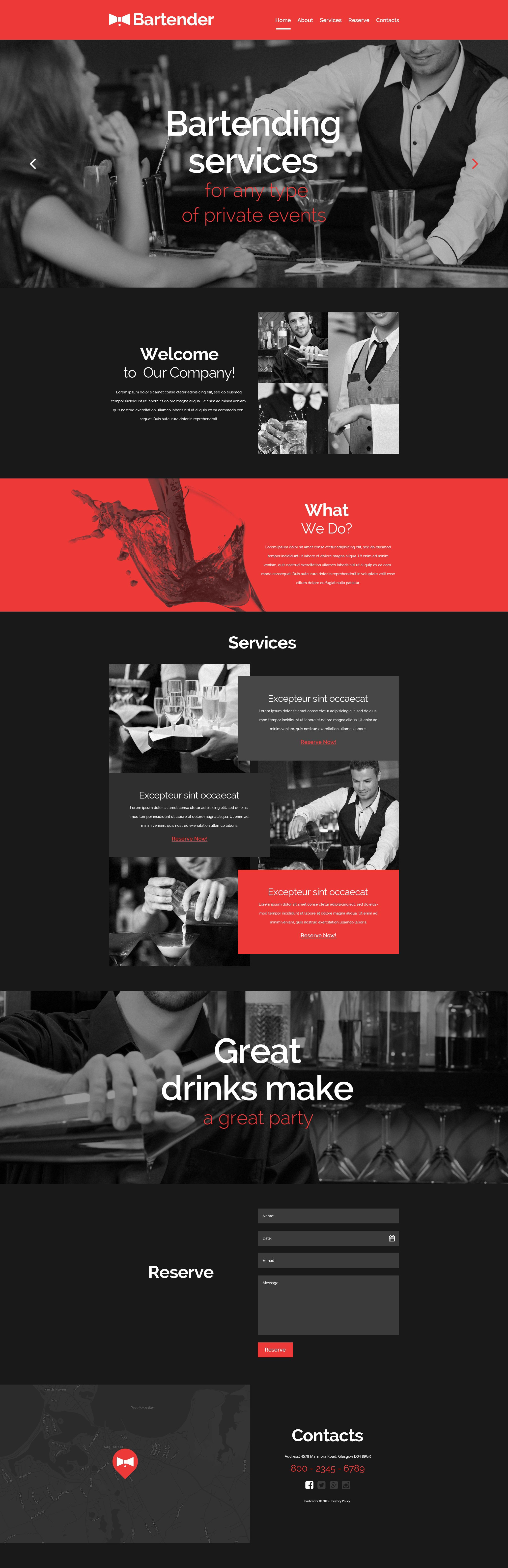 The Bartender Professional Site Bootstrap Design 53944, one of the best website templates of its kind (cafe and restaurant, most popular), also known as Bartender professional site website template, cocktail website template, party website template, personal page website template, awards club website template, night and related with Bartender professional site, cocktail, party, personal page, awards club, night, etc.