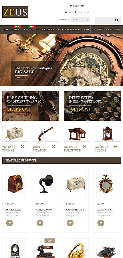 ZenCart Template 53946 Main Page Screenshot