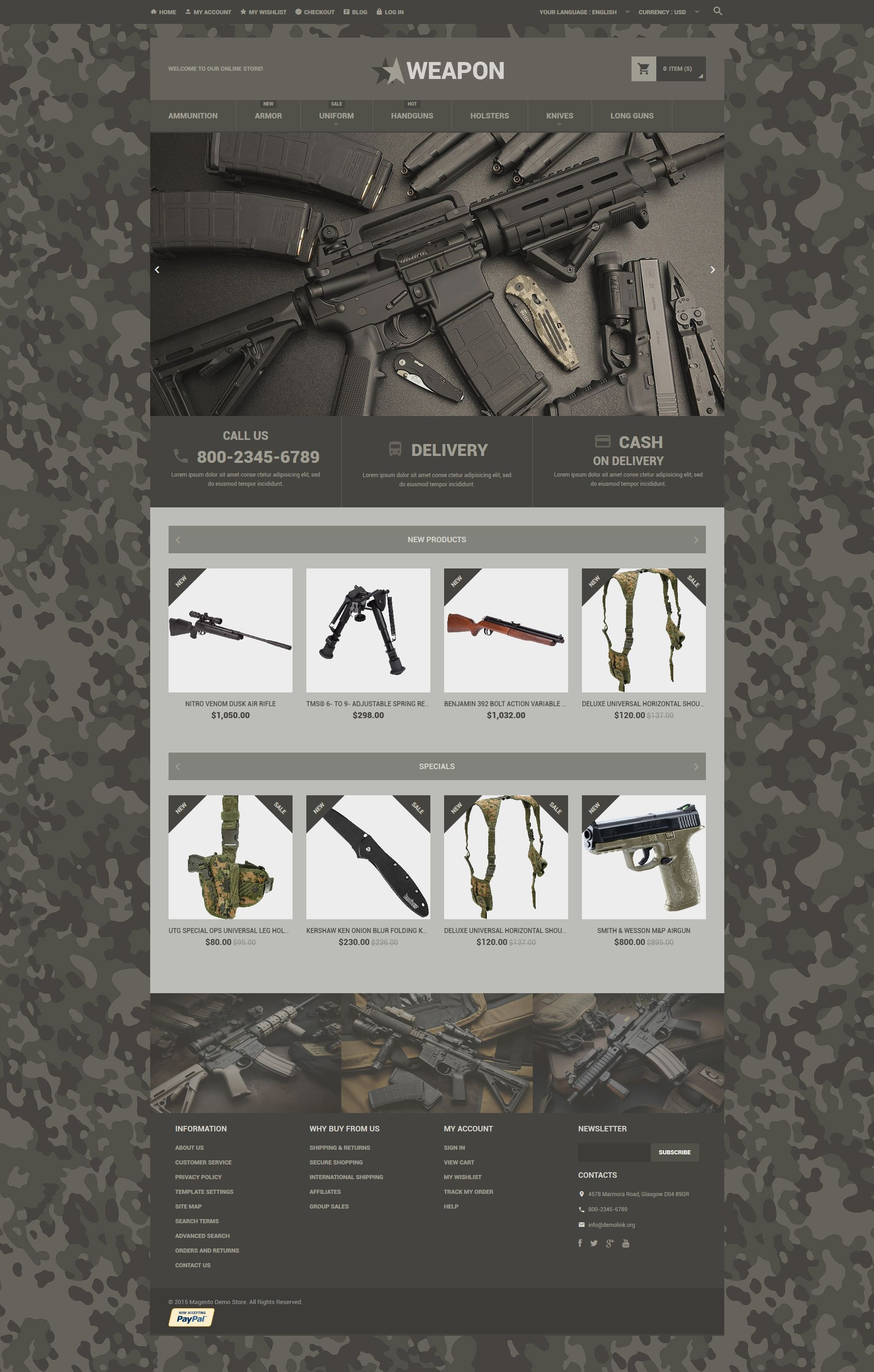 The Weapon Store Magento Design 53961, one of the best Magento themes of its kind (sport, most popular), also known as weapon store Magento template, shop Magento template, online products Magento template, shoot Magento template, gun Magento template, Walter TT Taser Savage Colt Glock Ruger Smith & Wesson Remington Winchester Browning Marlin Military Firearms organization Magento template, gun Magento template, part Magento template, firearm Magento template, ammunition Magento template, accessories Magento template, grip Magento template, clip Magento template, bolt Magento template, ejector Magento template, extractor Magento template, trigger and related with weapon store, shop, online products, shoot, gun, Walter TT Taser Savage Colt Glock Ruger Smith & Wesson Remington Winchester Browning Marlin Military Firearms organization, gun, part, firearm, ammunition, accessories, grip, clip, bolt, ejector, extractor, trigger, etc.