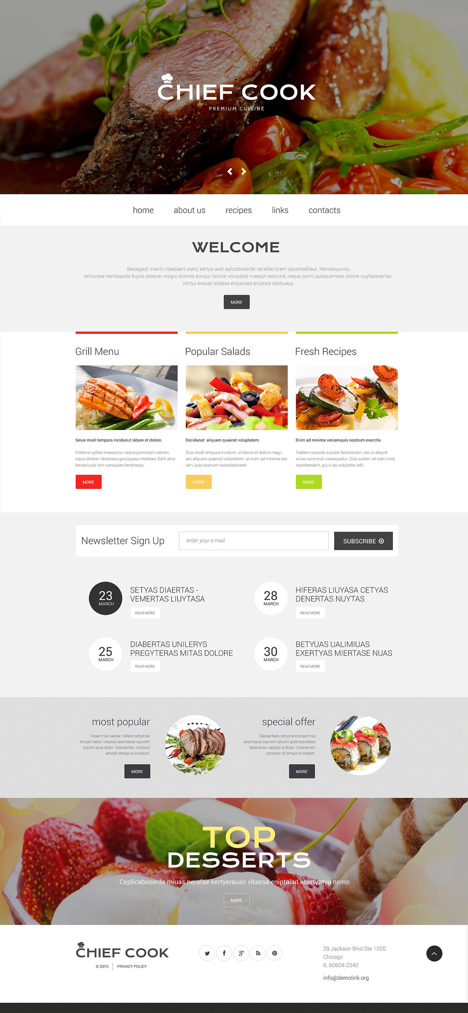 Chef Cook Site template illustration image