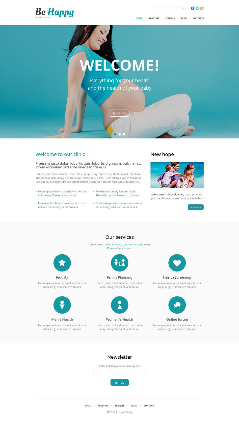 Адаптивный шаблон сайта на тему клиника репродуктивной медицины #53938
