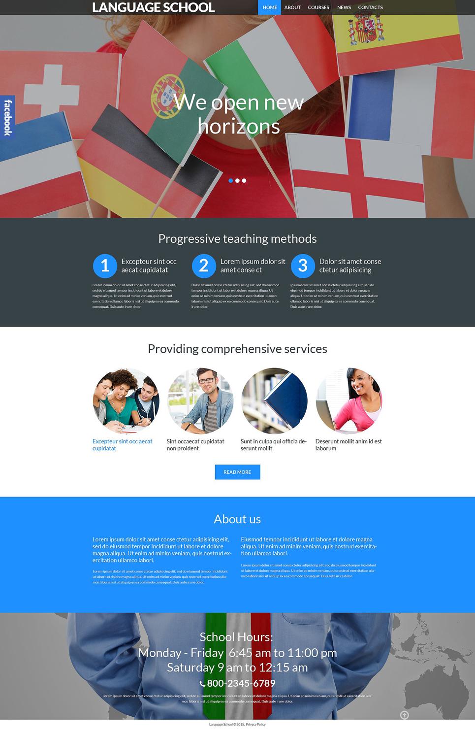 Адаптивный шаблон сайта на тему языковая школа #53988