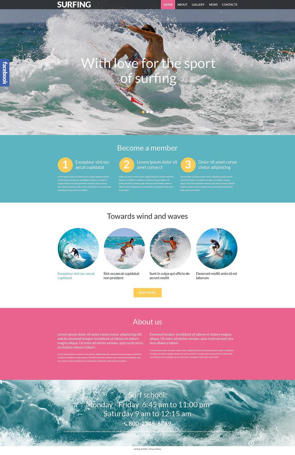 Адаптивный шаблон сайта на тему серфинг #53989