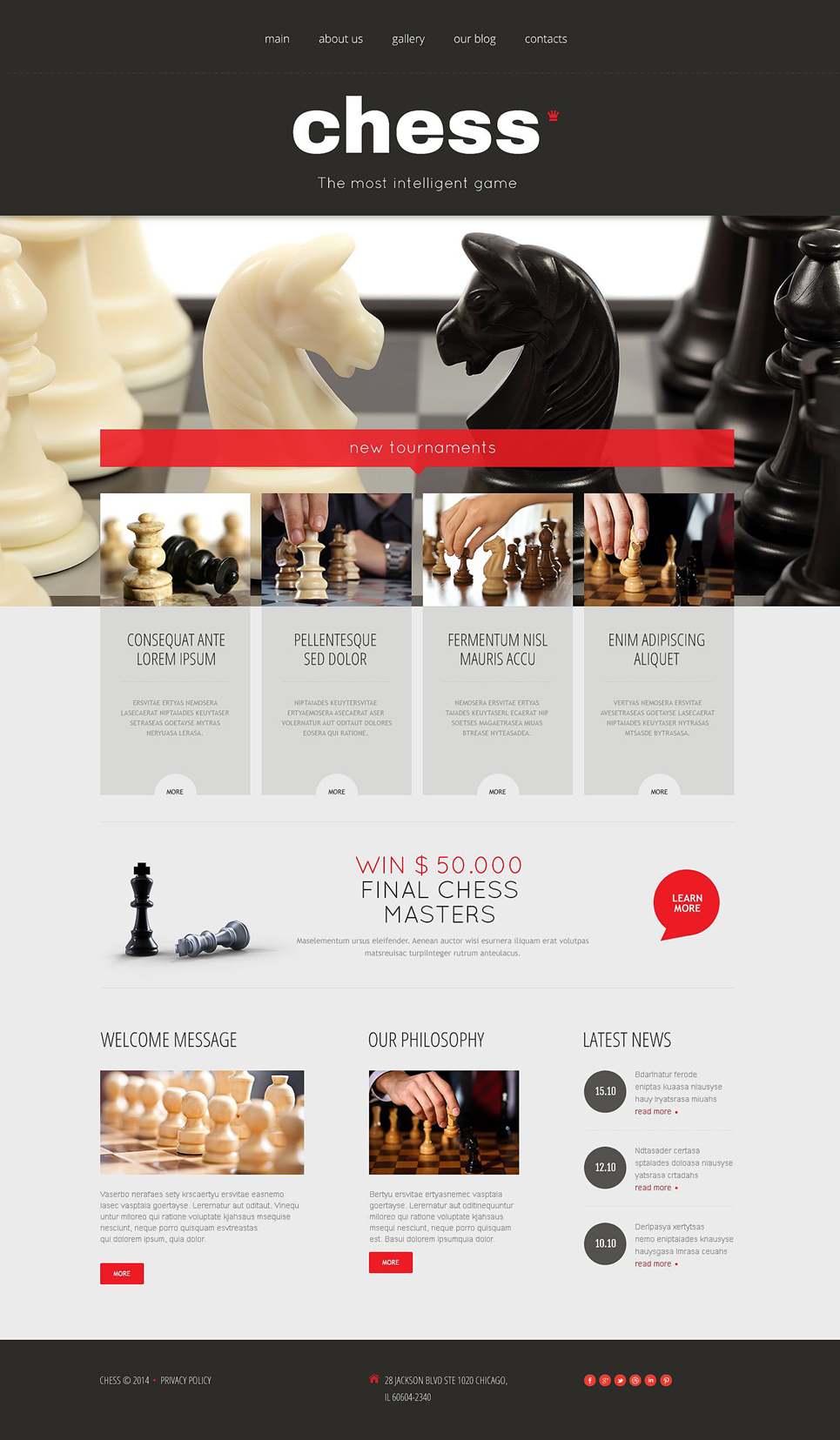 Адаптивный шаблон сайта на тему шахматы #53991