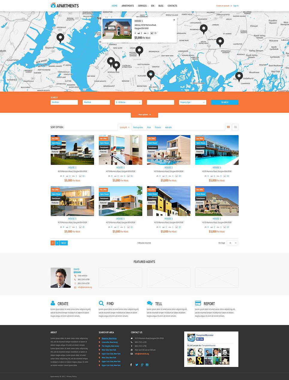Адаптивный шаблон сайта на тему агентство недвижимости #53995