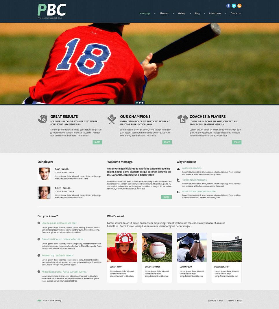 Адаптивный шаблон сайта на тему бейсбол #53996
