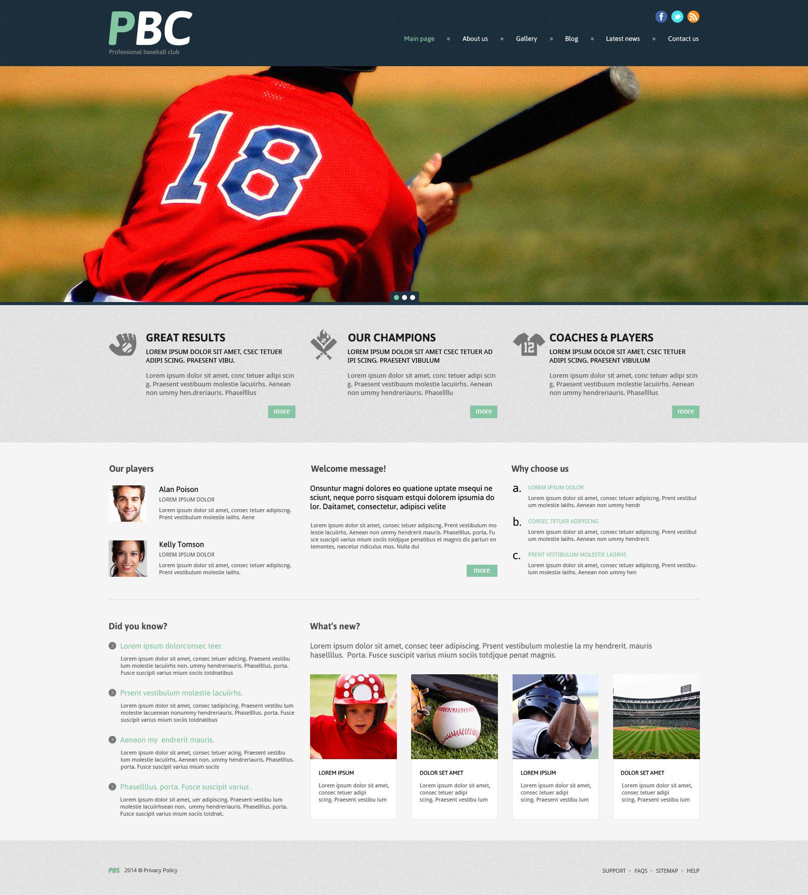 Адаптивный WordPress шаблон №53996 на тему бейсбол