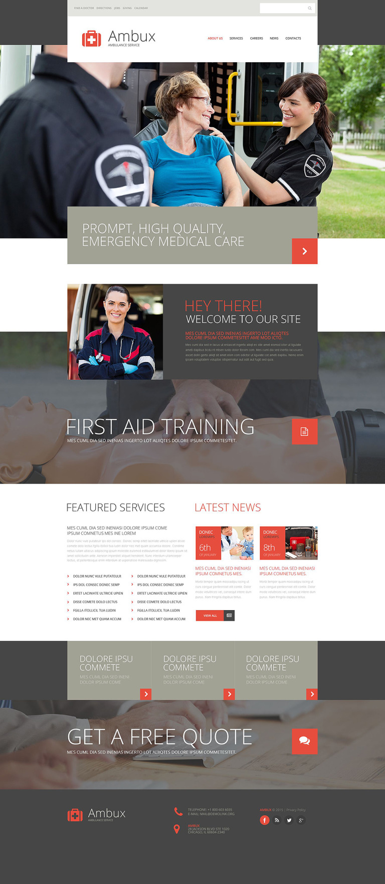 Ambulance Services Website Template New Screenshots BIG