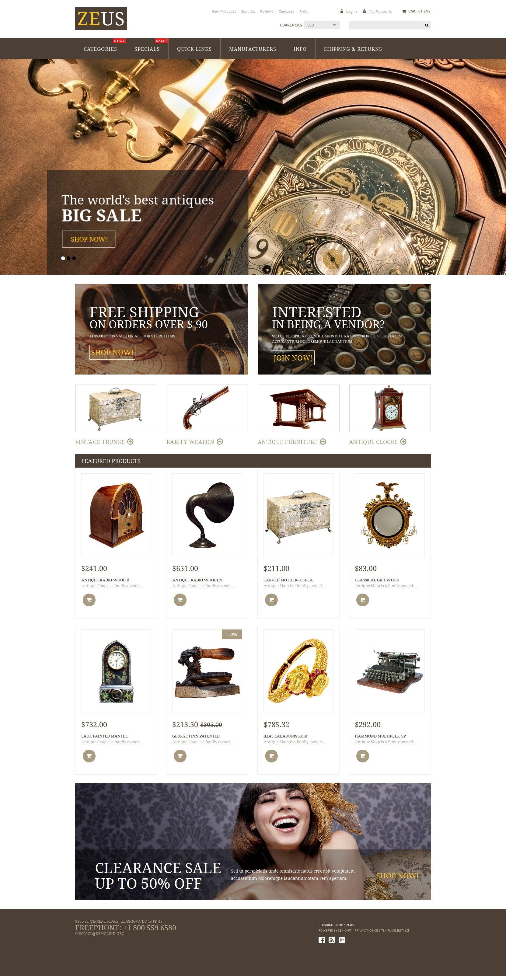 """Antique Store"" Responsive ZenCart template №53946"