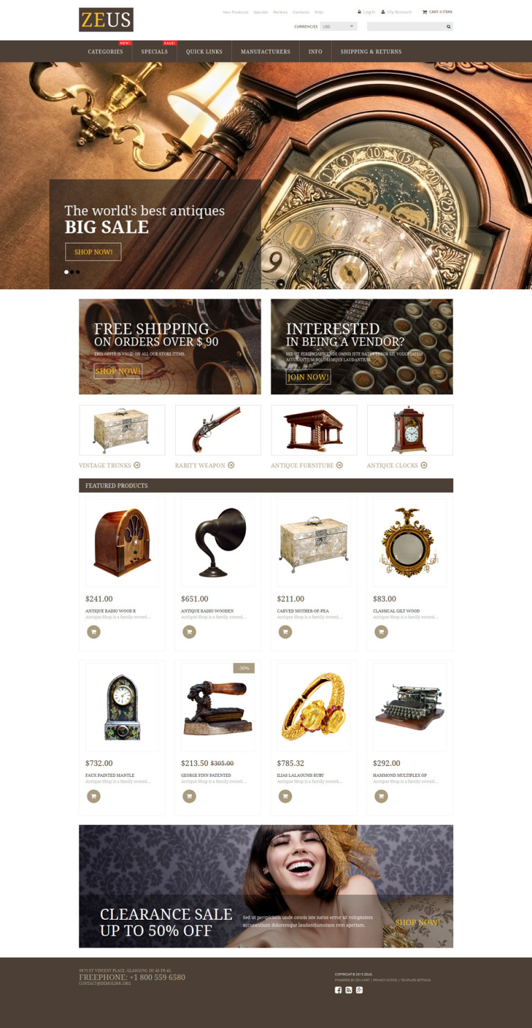 Antique Store ZenCart Template New Screenshots BIG