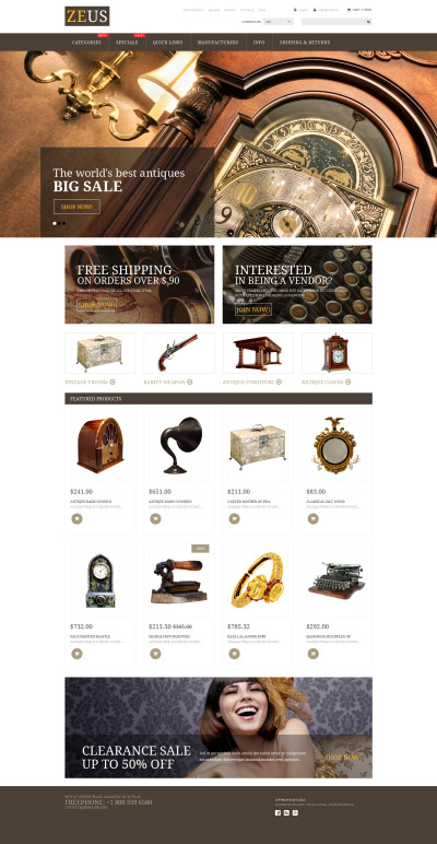 Antique Store ZenCart Template #53946
