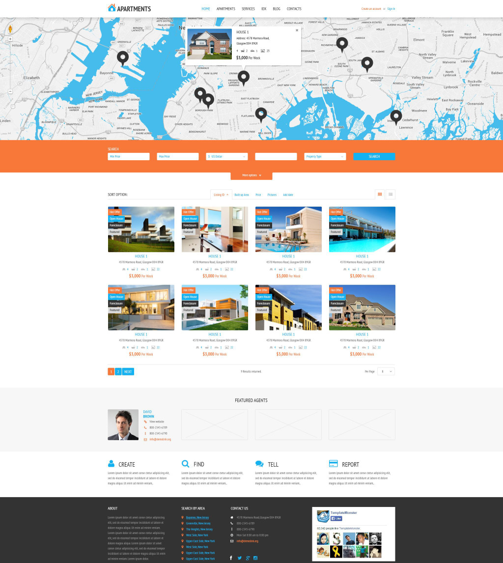 Apartments Agency: Demo Preview For Apartments Rent Agency WordPress Theme #53995