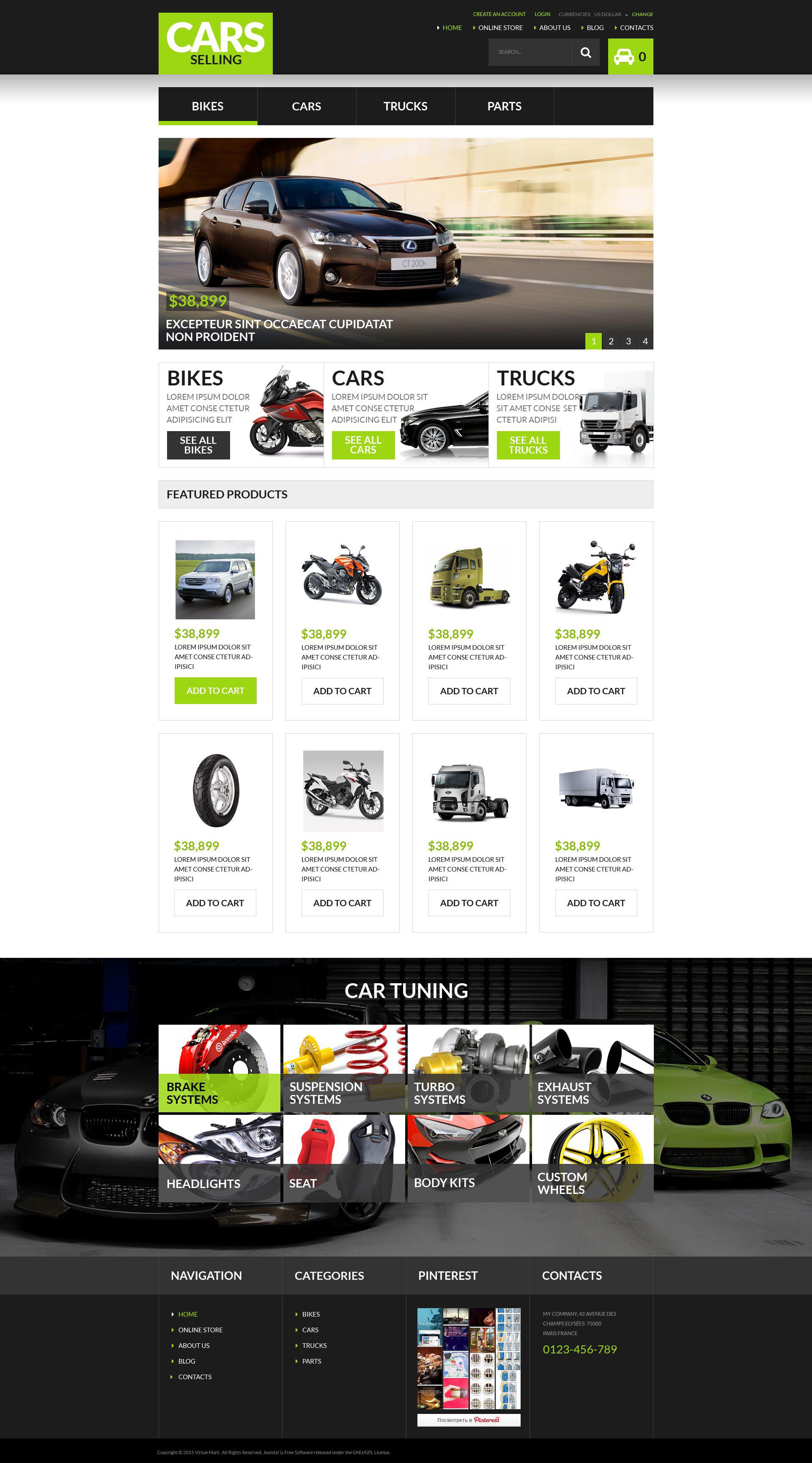 """""""Auto Dealership"""" - VirtueMart шаблон №53911"""