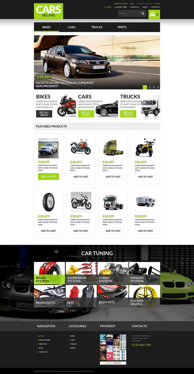 Auto Dealership VirtueMart Template New Screenshots BIG