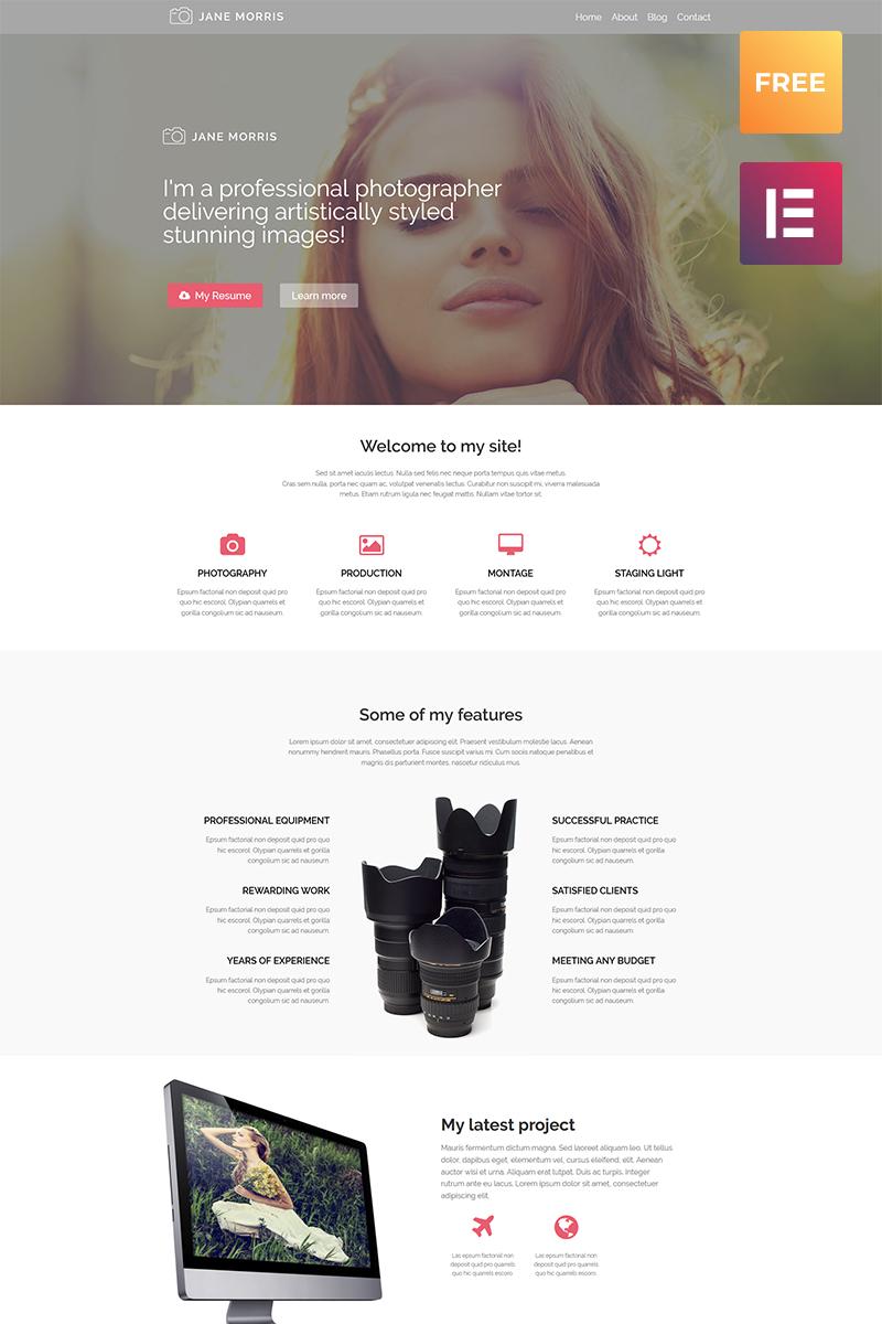 Бесплатный WordPress шаблон для фотопортфолио №53917 - скриншот