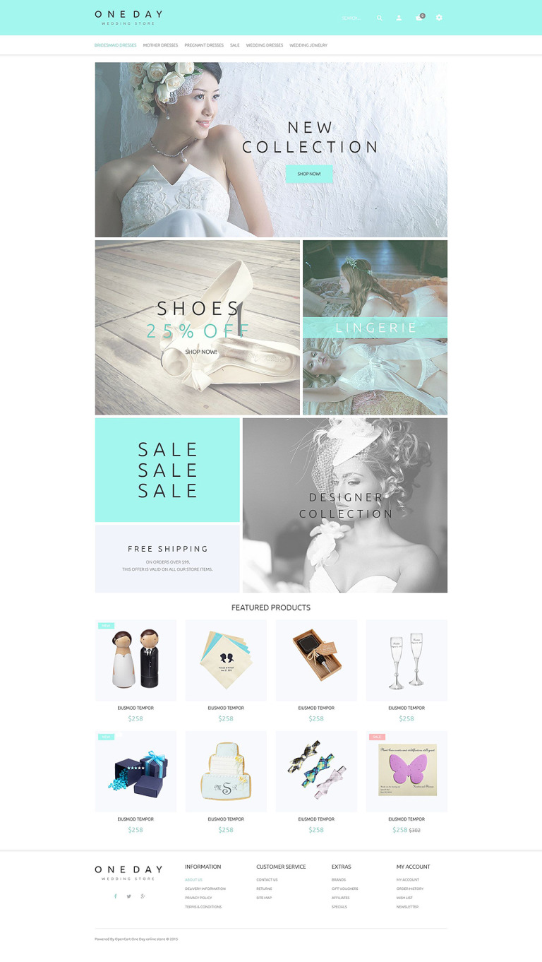 Bridal Shopping OpenCart Template New Screenshots BIG