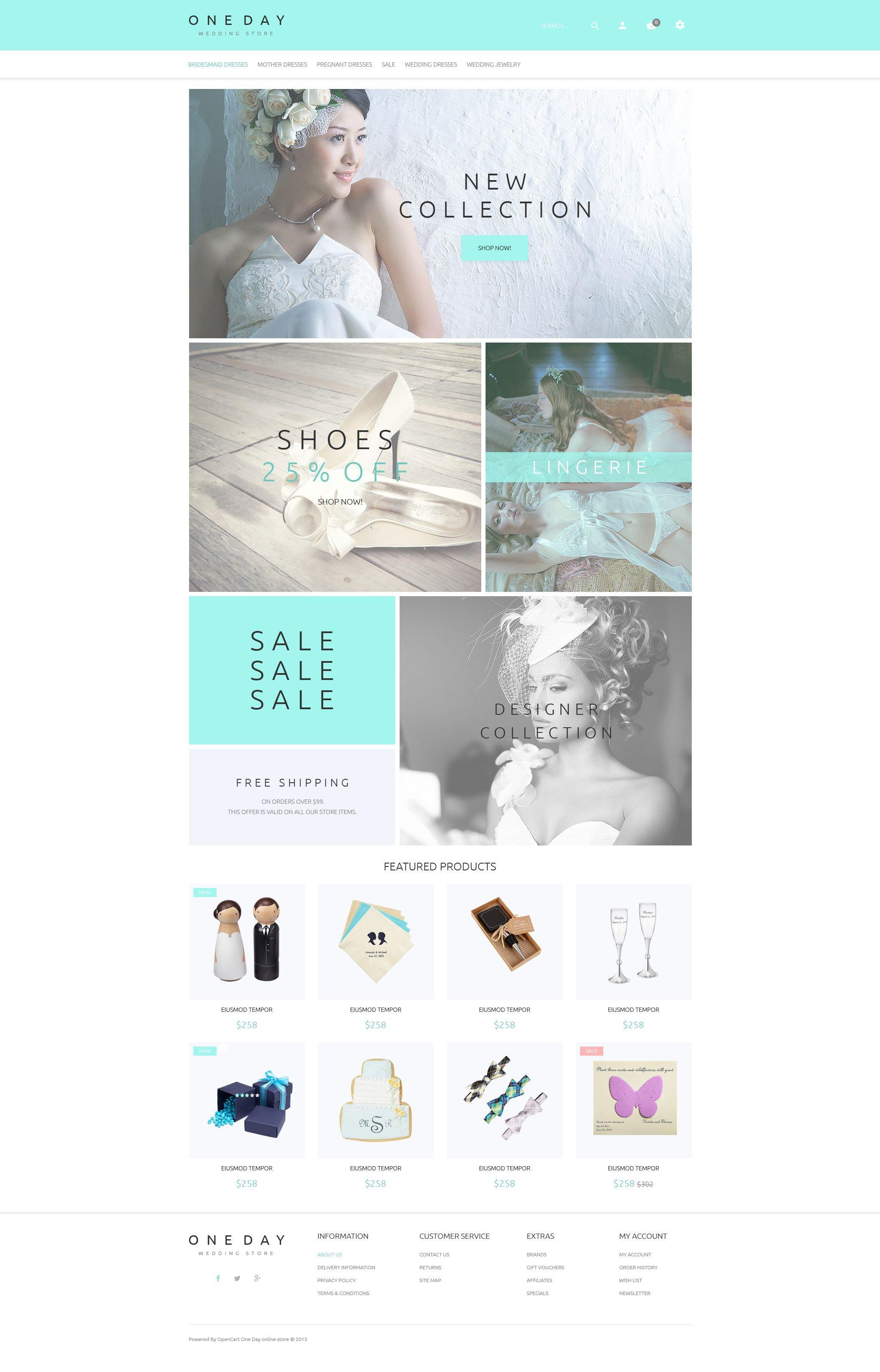 """Bridal Shopping"" 响应式OpenCart模板 #53913 - 截图"