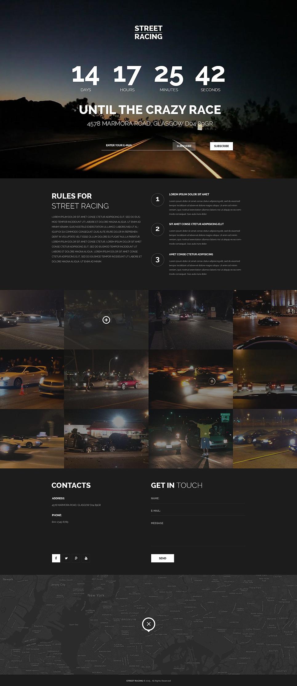 Car Racing Responsive Landing Page Template #53924